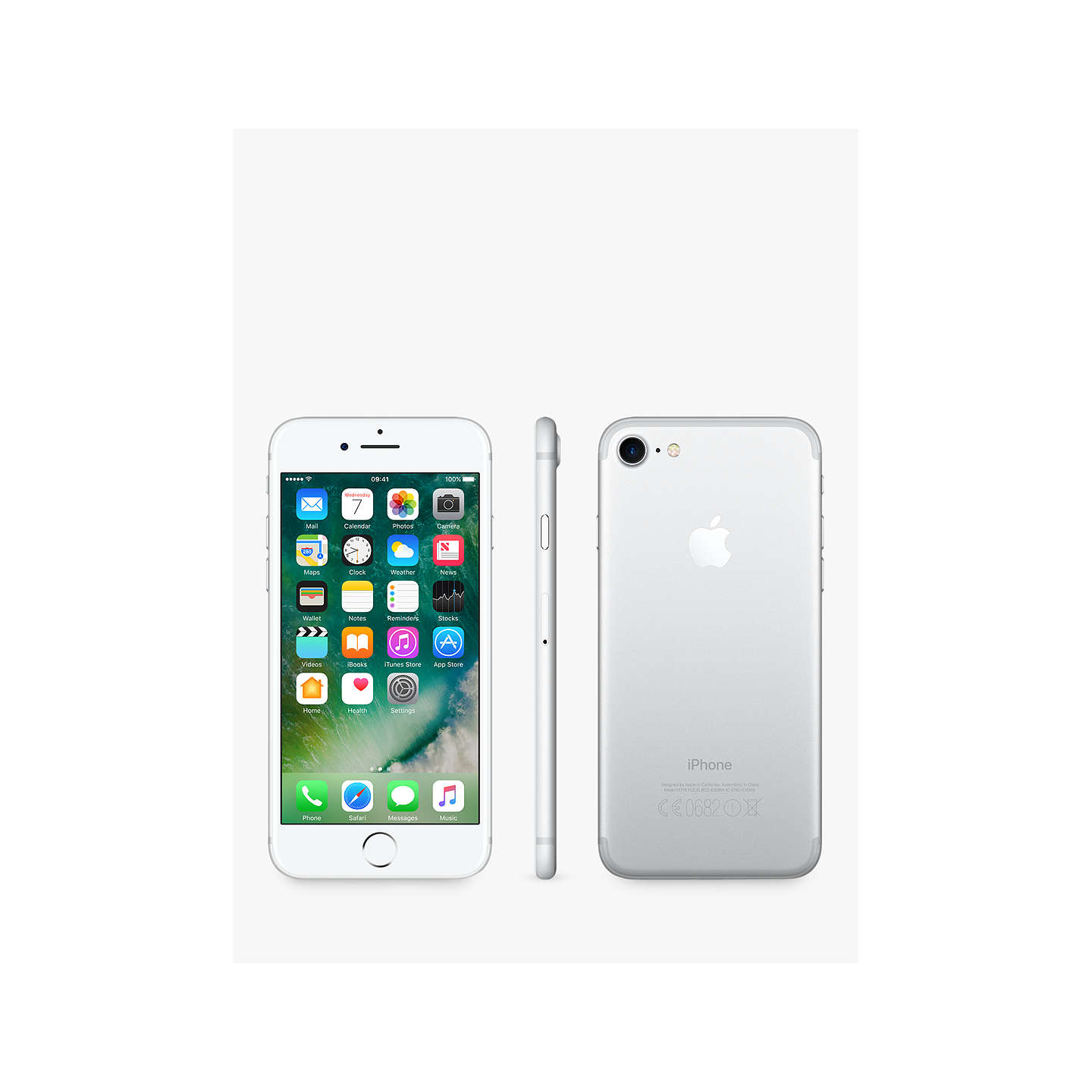 "BuyApple iPhone 7, iOS 10, 4.7"", 4G LTE, SIM Free, 128GB, Silver Online at johnlewis.com"