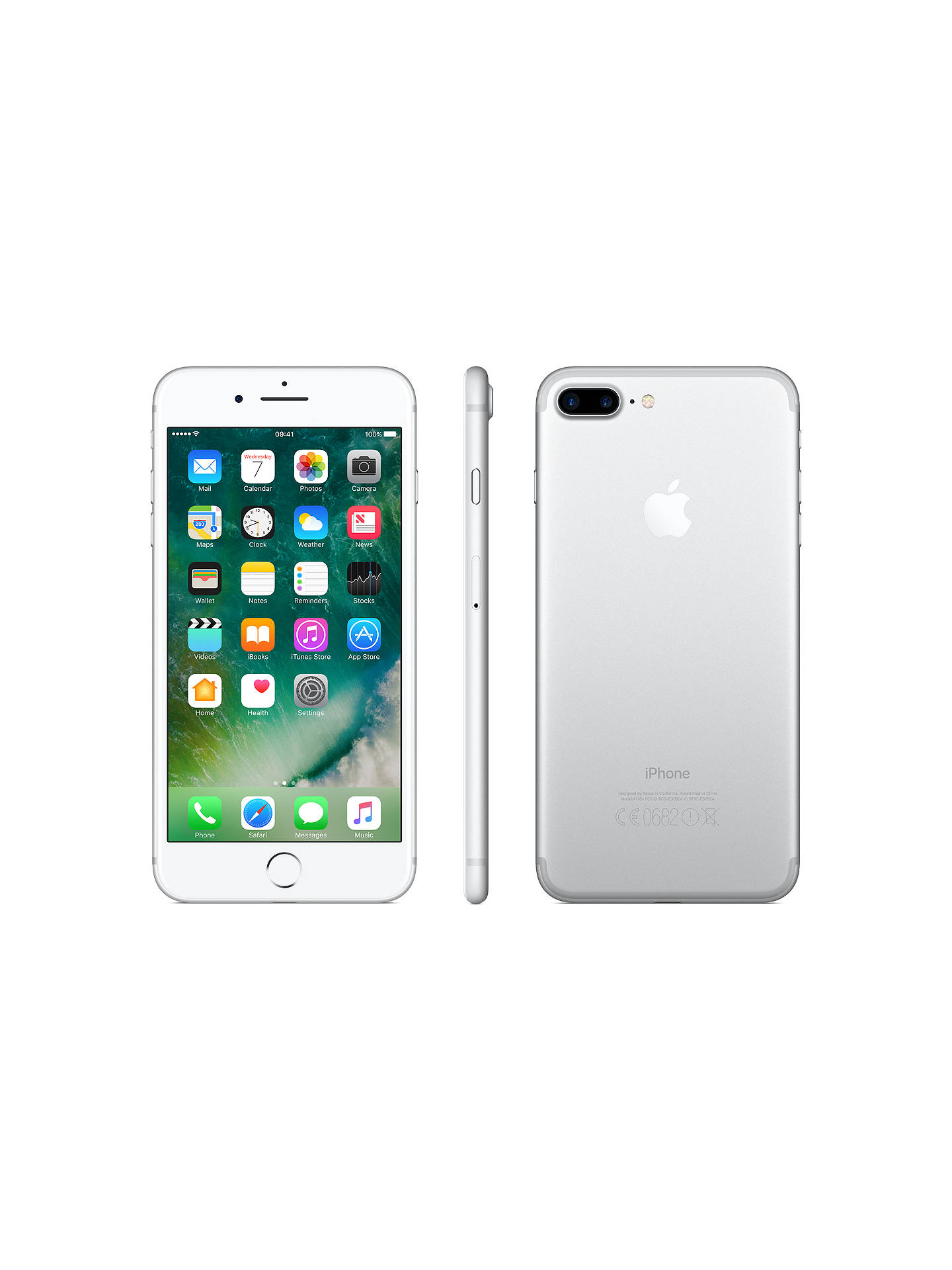 "BuyApple iPhone 7 Plus, iOS 10, 5.5"", 4G LTE, SIM Free, 128GB, Silver Online at johnlewis.com"