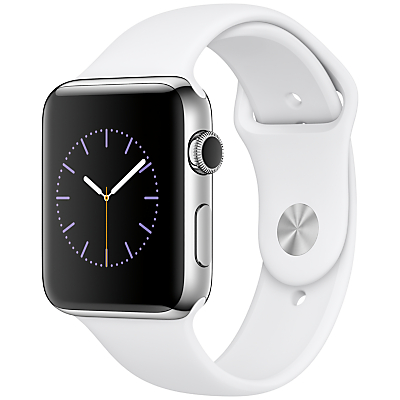 Apple Watch Series 2 42mm Stainless Steel Case with Sport Band, White