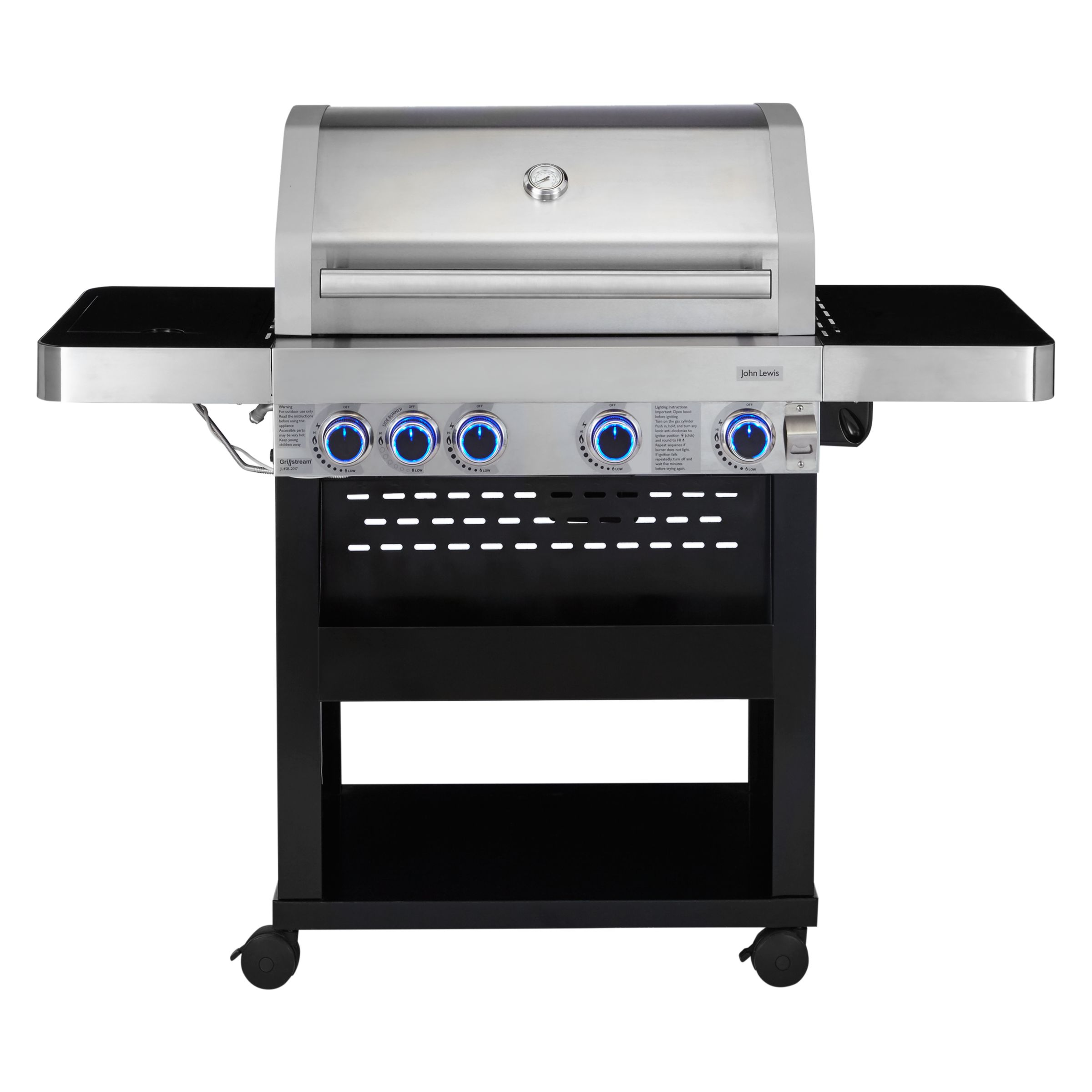 John Lewis Partners 4 Burner Deluxe Gas Bbq With Side Silver Black