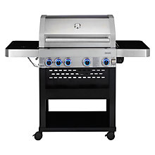 Buy John Lewis 4 Burner Deluxe Gas BBQ with Side Burner, Silver/Black Online at johnlewis.com