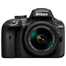 "Buy Nikon D3400 Digital SLR Camera with 18-55mm VR Lens, HD 1080p, 24.2MP, Optical ViewFinder, 3"" LCD Monitor, Black Online at johnlewis.com"