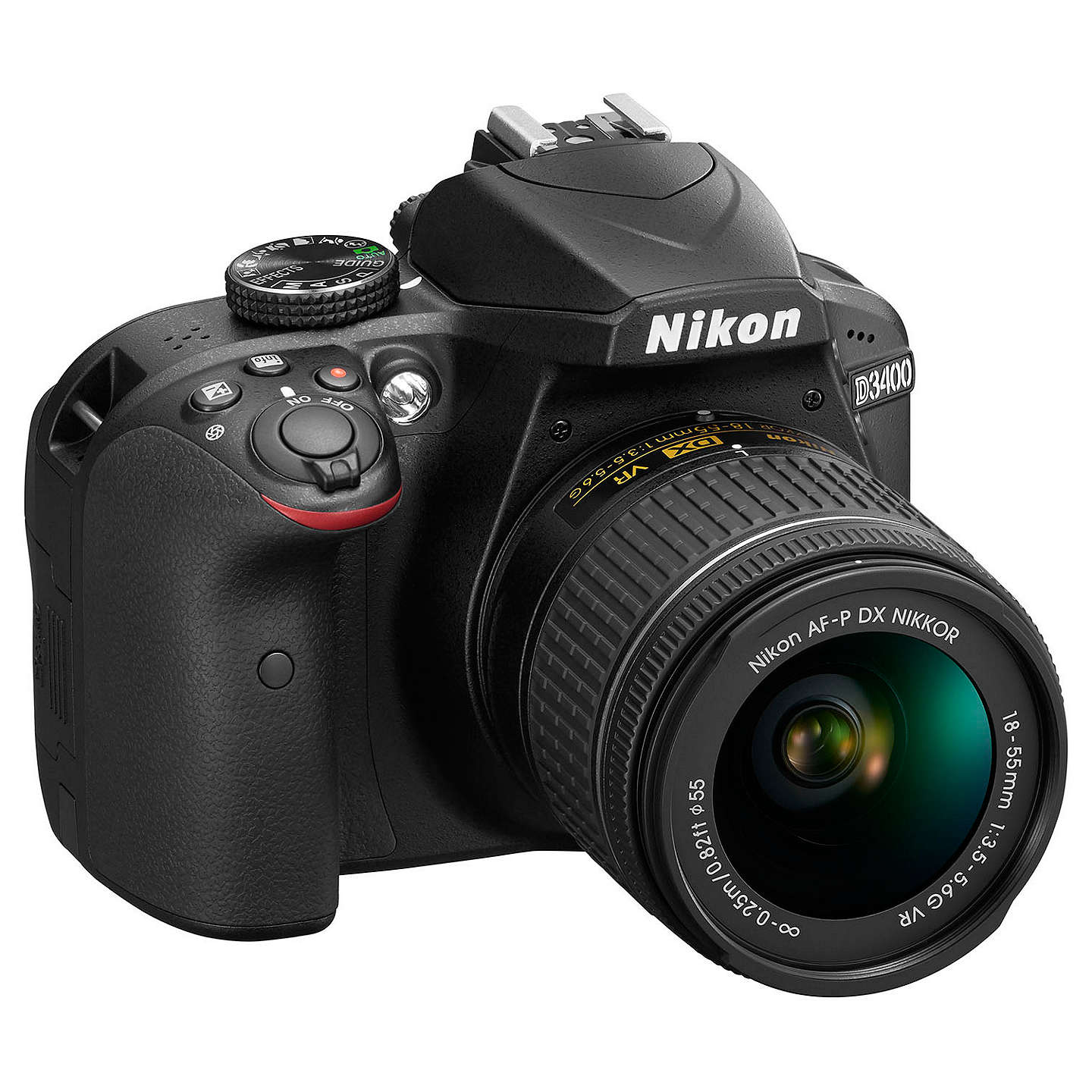 "BuyNikon D3400 Digital SLR Camera with 18-55mm VR Lens, HD 1080p, 24.2MP, Optical ViewFinder, 3"" LCD Monitor, Black Online at johnlewis.com"