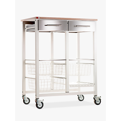 Hahn Onda Double Butcher's Trolley, Ivory White / Beech