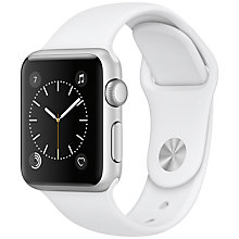 Buy Apple Watch Series 1, 38mm Silver Aluminium Case with Sport Band, White Online at johnlewis.com