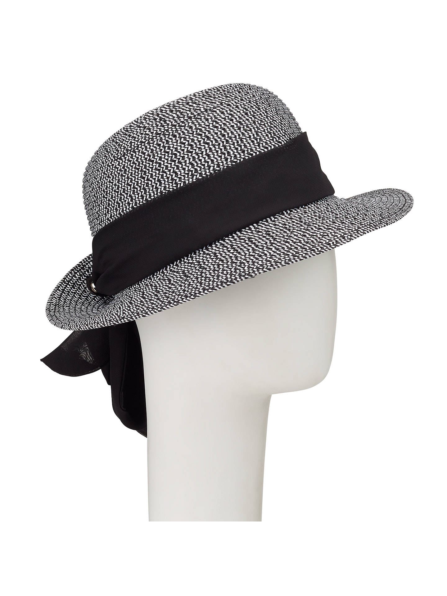 BuyJohn Lewis Turn Up Brim Packable Tie Detail Fedora Hat, Black Mix Online at johnlewis.com
