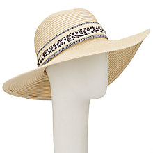 Buy John Lewis Packable Floppy Ribbon Trim Sun Hat, Natural Online at johnlewis.com
