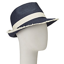 Buy John Lewis Packable Raw Edge Trilby Hat, One Size, Navy/Cream Online at johnlewis.com