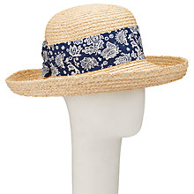 Buy John Lewis Flower Panel Detail Straw Garden Hat, Natural/Navy Online at johnlewis.com