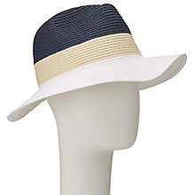Buy John Lewis Packable Colour Block Fedora Hat, Cream/Navy Online at johnlewis.com
