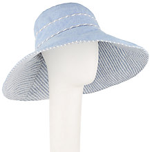 Buy John Lewis Reversible Striped Wide Brim Sun Hat, Chambray/Grey Online at johnlewis.com