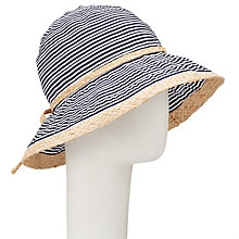 Buy John Lewis Stripe Ribbon Straw Trim Sun Hat, Navy/White Online at johnlewis.com