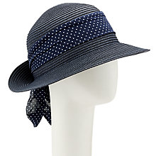 Buy John Lewis Packable Turn Up Brim Spot Scarf Detail Fedora Hat, Navy Online at johnlewis.com