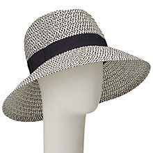 Buy John Lewis Down Turn Brim Ribbon Garden Hat, Black/White Online at johnlewis.com