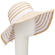 Buy John Lewis Packable Ribbon Raffia Floppy Hat, White/Cream Online at johnlewis.com