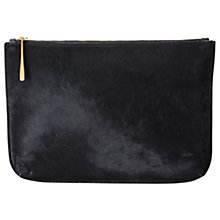 Buy Jigsaw Alana Large Textured Leather Pouch Clutch, Black Online at johnlewis.com