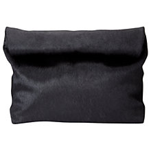 Buy Jigsaw Pony Roll Top Clutch Bag, Black Online at johnlewis.com