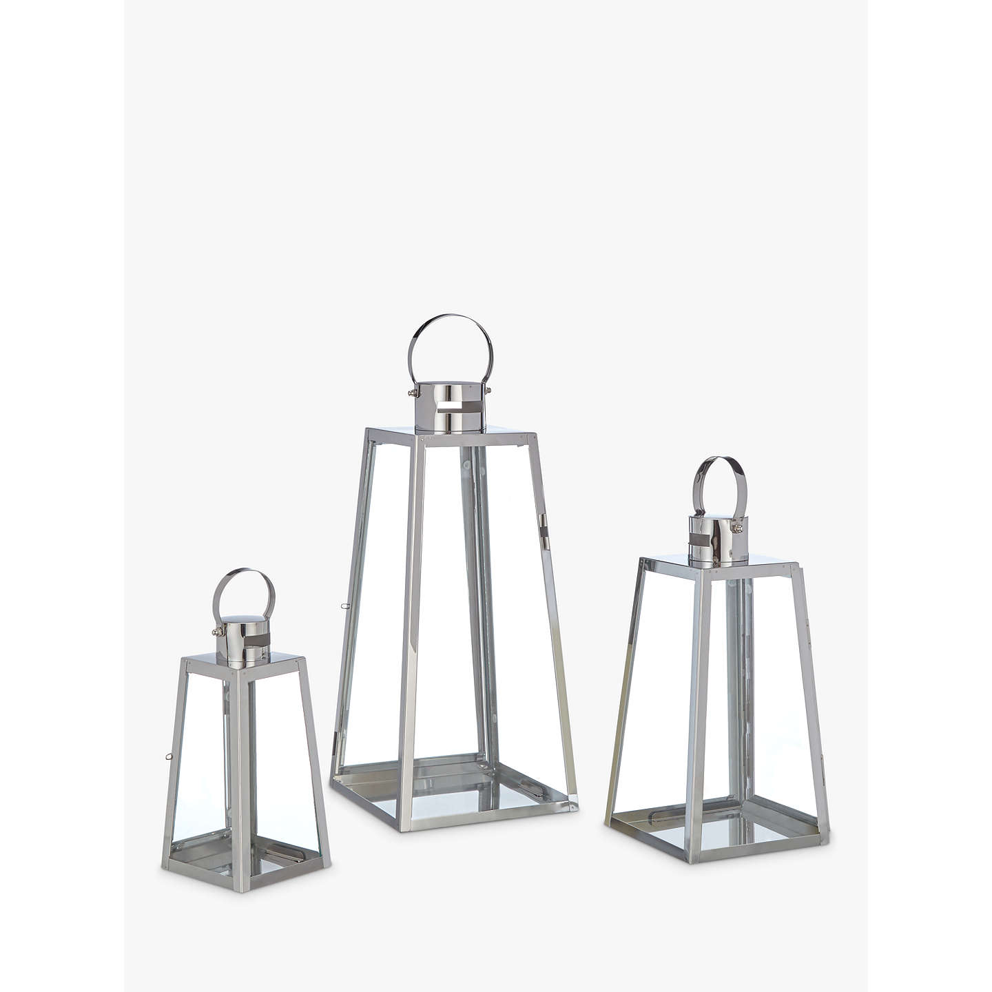 BuyJohn Lewis Pimlico Aluminium Lanterns, Set of 3 Online at johnlewis.com