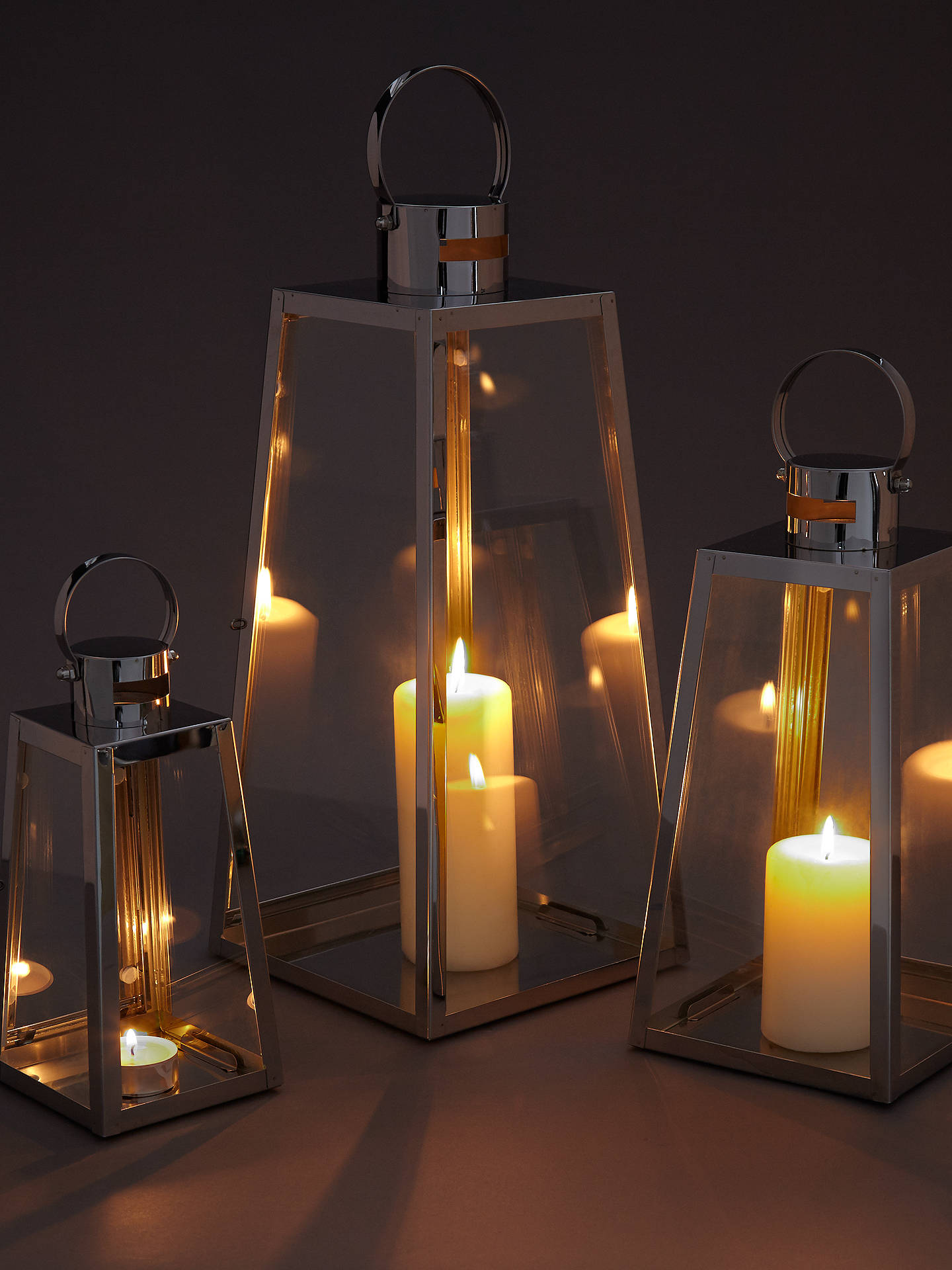 Buy John Lewis & Partners Pimlico Aluminium Lanterns, Set of 3 Online at johnlewis.com