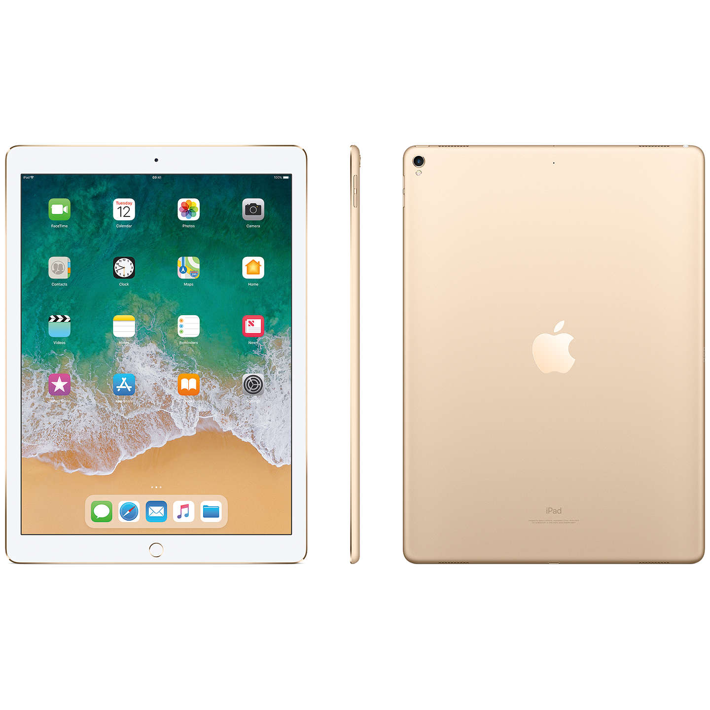 "Buy2017 Apple iPad Pro 12.9"", A10X Fusion, iOS11, Wi-Fi, 64GB, Gold Online at johnlewis.com"