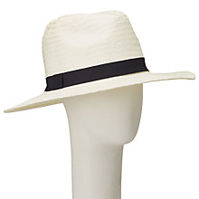 Buy John Lewis Packable Panama Trim Fedora Hat, Cream/Black Online at johnlewis.com