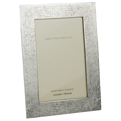 Lancaster and Gibbings Handwriting Photo Frame, 6 x 4, Pewter