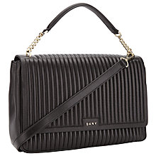 Buy DKNY Gansevoort Leather Shoulder Bag, Black Online at johnlewis.com
