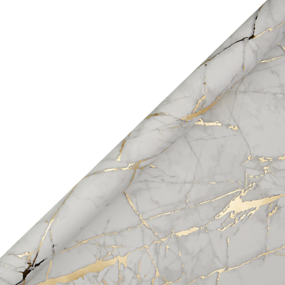 Image of John Lewis & Partners Marble Printed Gift Wrap, 3m, Gold