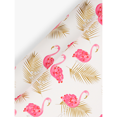 Image of John Lewis & Partners Flamingo Gift Wrap, 3m, Pink/Gold