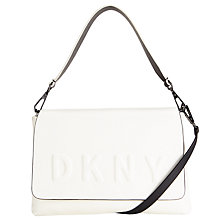 Buy DKNY Debossed Logo Leather Flap Shoulder Bag, Cream Online at johnlewis.com
