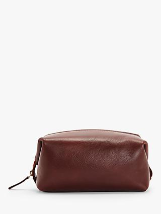 John Lewis & Partners Made in Italy Leather Wash Bag, Brown