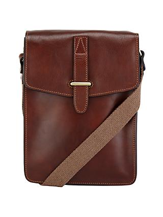 John Lewis & Partners Made in Italy Leather Reporter Bag, Brown