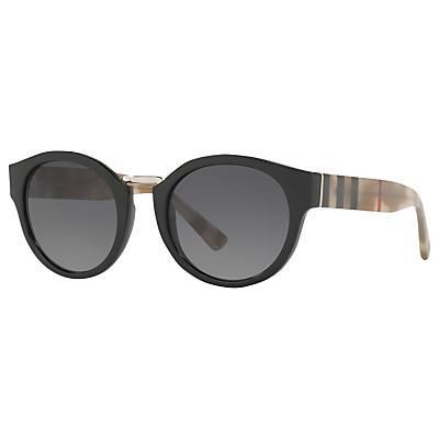 Burberry BE4227 Polarised Oval Sunglasses, Black/Grey Gradient
