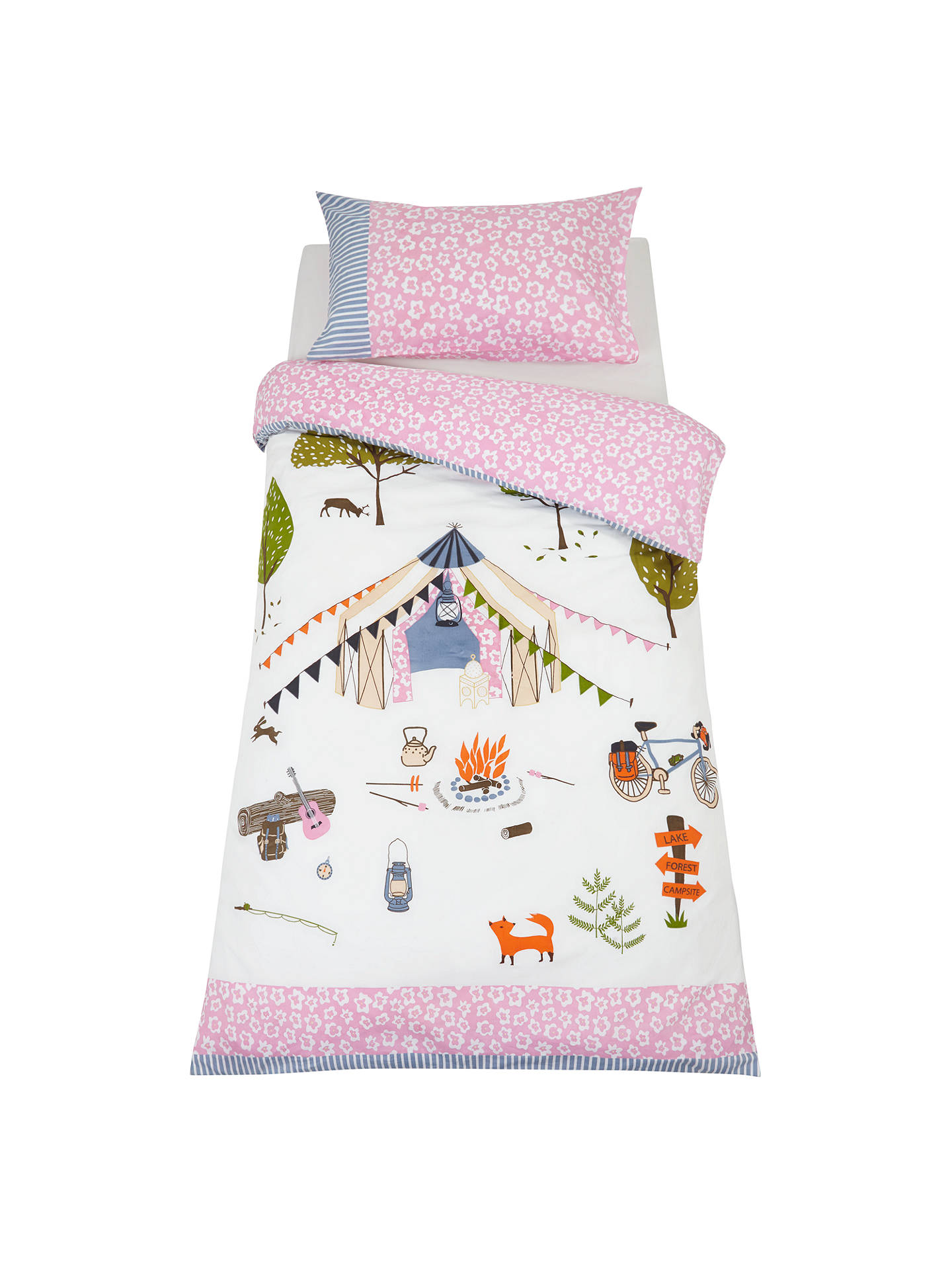 little home at John Lewis Camping Embroidered Duvet Cover and Pillowcase Set, Single