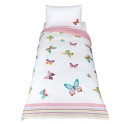 little home at John Lewis Butterfly Embroidered Duvet Cover and Pillowcase Set, Single