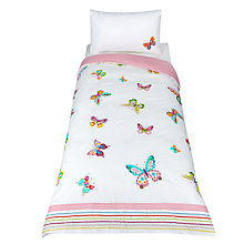 Buy little home at John Lewis Butterfly Embroidered Duvet Cover and Pillowcase Set, Single Online at johnlewis.com