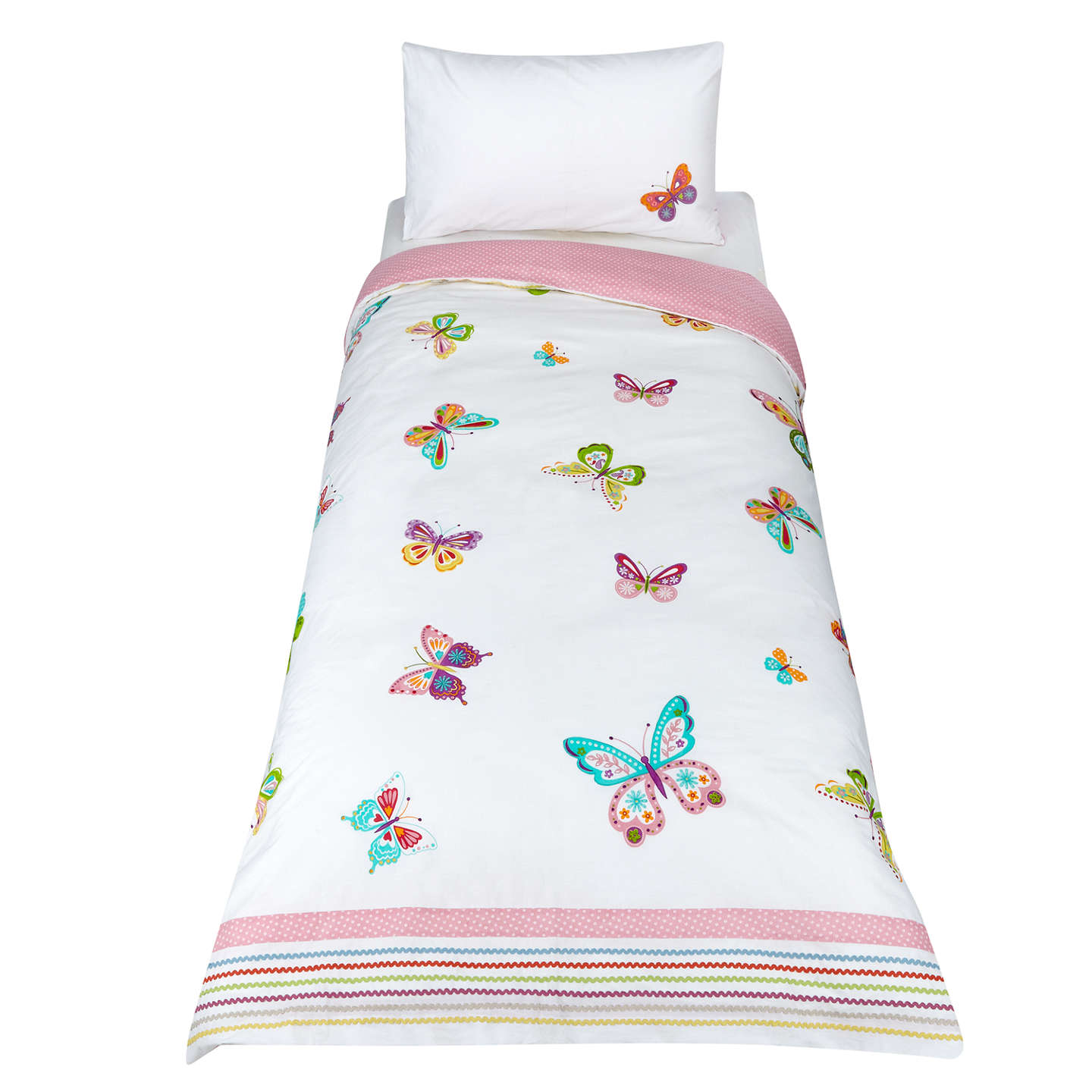 Buylittle home at John Lewis Butterfly Embroidered Duvet Cover and Pillowcase Set, Single Online at johnlewis.com