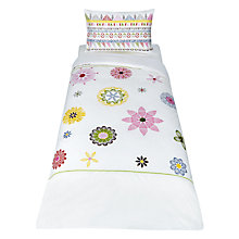 Buy little home at John Lewis Geo Embroidered Duvet Cover and Pillowcase Set, Single Online at johnlewis.com