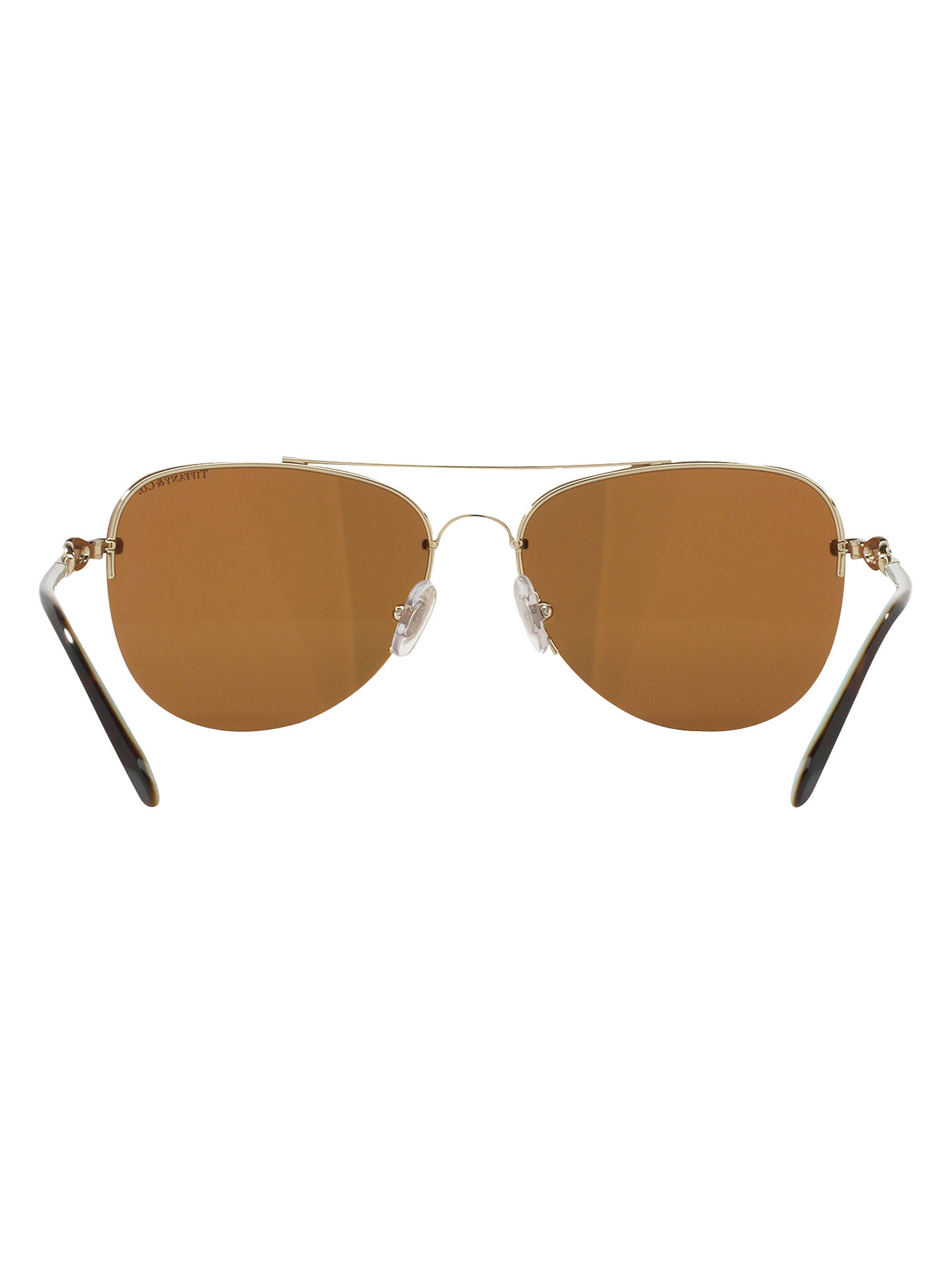 BuyTiffany & Co TF3054B Embellished Aviator Sunglasses, Gold/Beige Online at johnlewis.com