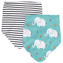 Buy John Lewis Baby Stripe and Elephant Dribble Bibs, Pack of 2 Online at johnlewis.com