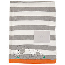 Buy John Lewis Baby Striped Elephant Blanket, Grey Online at johnlewis.com