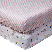 Buy John Lewis Baby Bunny Scallop Cotbed Fitted Sheet, 140 x 70cm, Pack of 2 Online at johnlewis.com