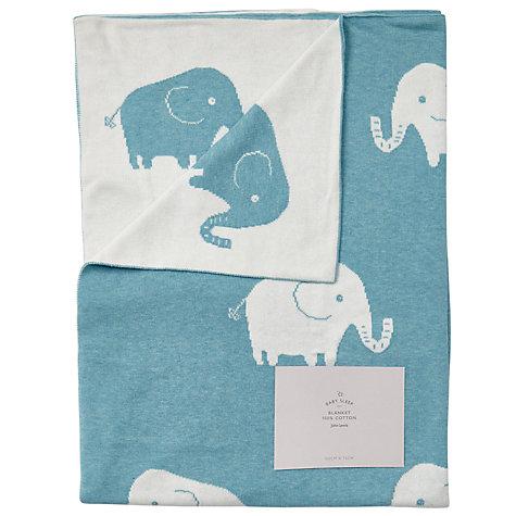 Buy John Lewis Baby Elephant Knit Blanket, 75 X 100cm, Teal Online At  Johnlewis