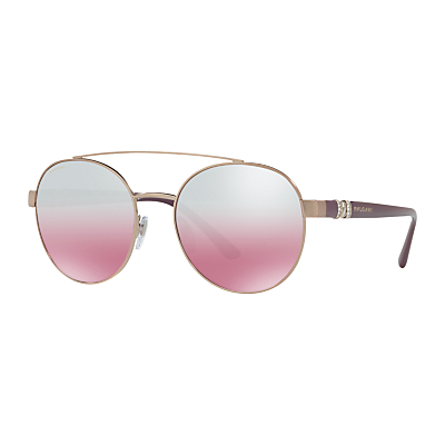 BVLGARI BV6085B Embellished Round Sunglasses, Plum/Pink Gradient