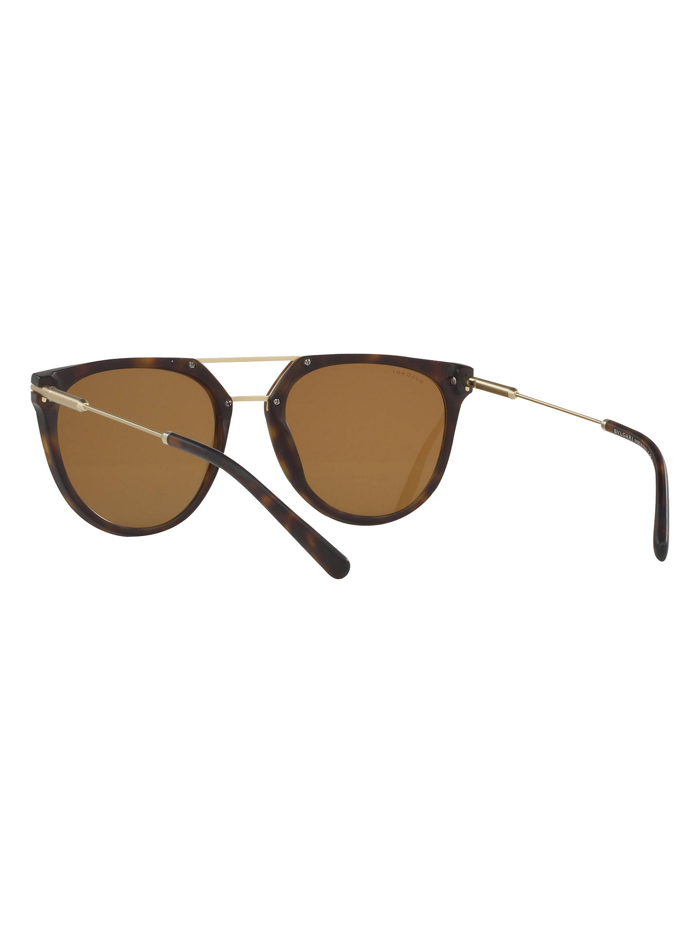 BuyBVLGARI BV7029 Polarised Aviator Sunglasses, Tortoise Online at johnlewis.com