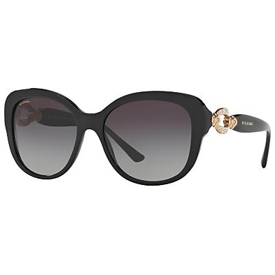 BVLGARI BV8180B Embellished Square Sunglasses, Black/Grey Gradient