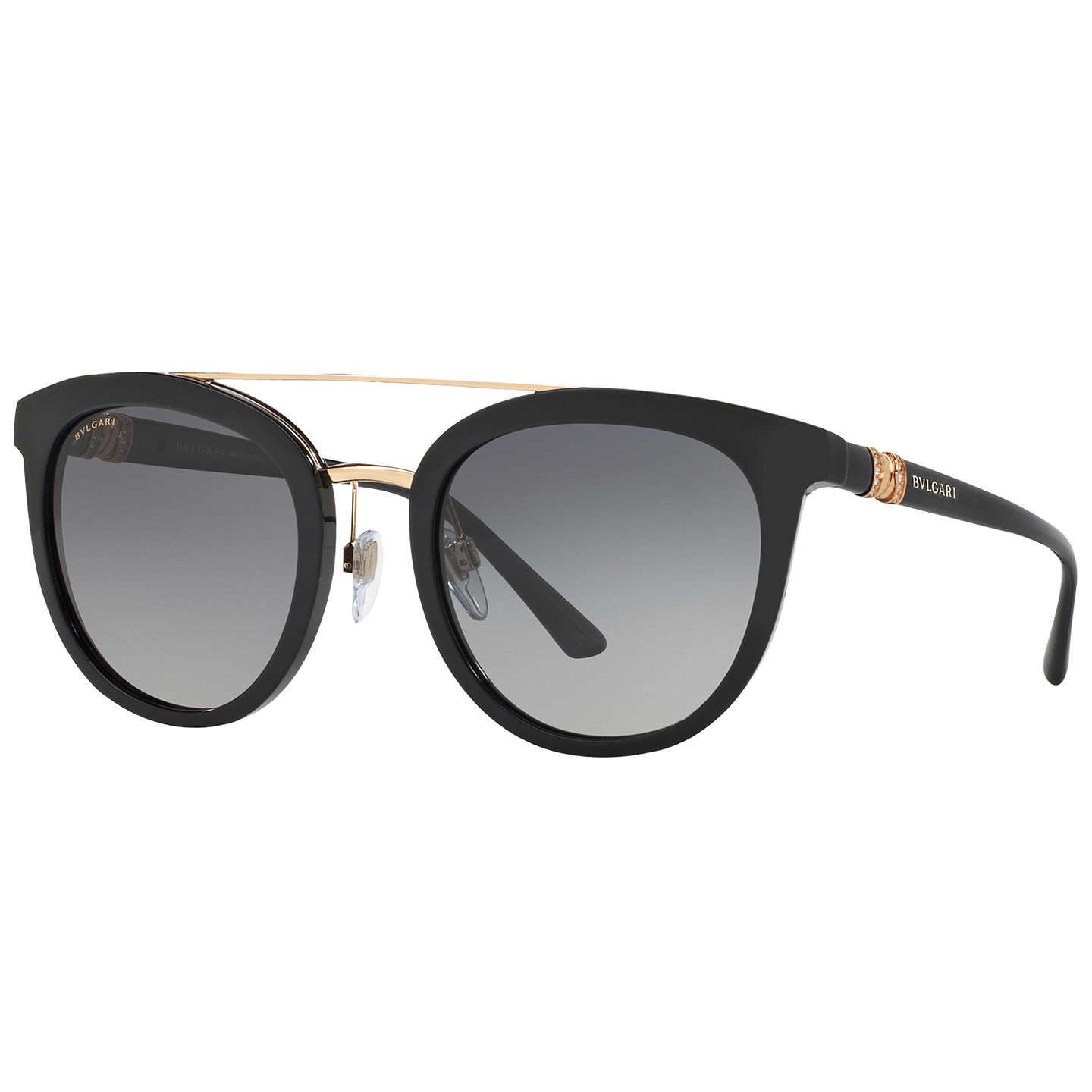 BVLGARI BV8184B Polarised Round Sunglasses Matte Black Grey
