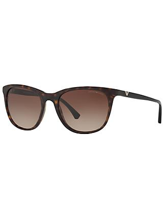 Emporio Armani EA4086 Square Sunglasses, Tortoise/Brown Gradient
