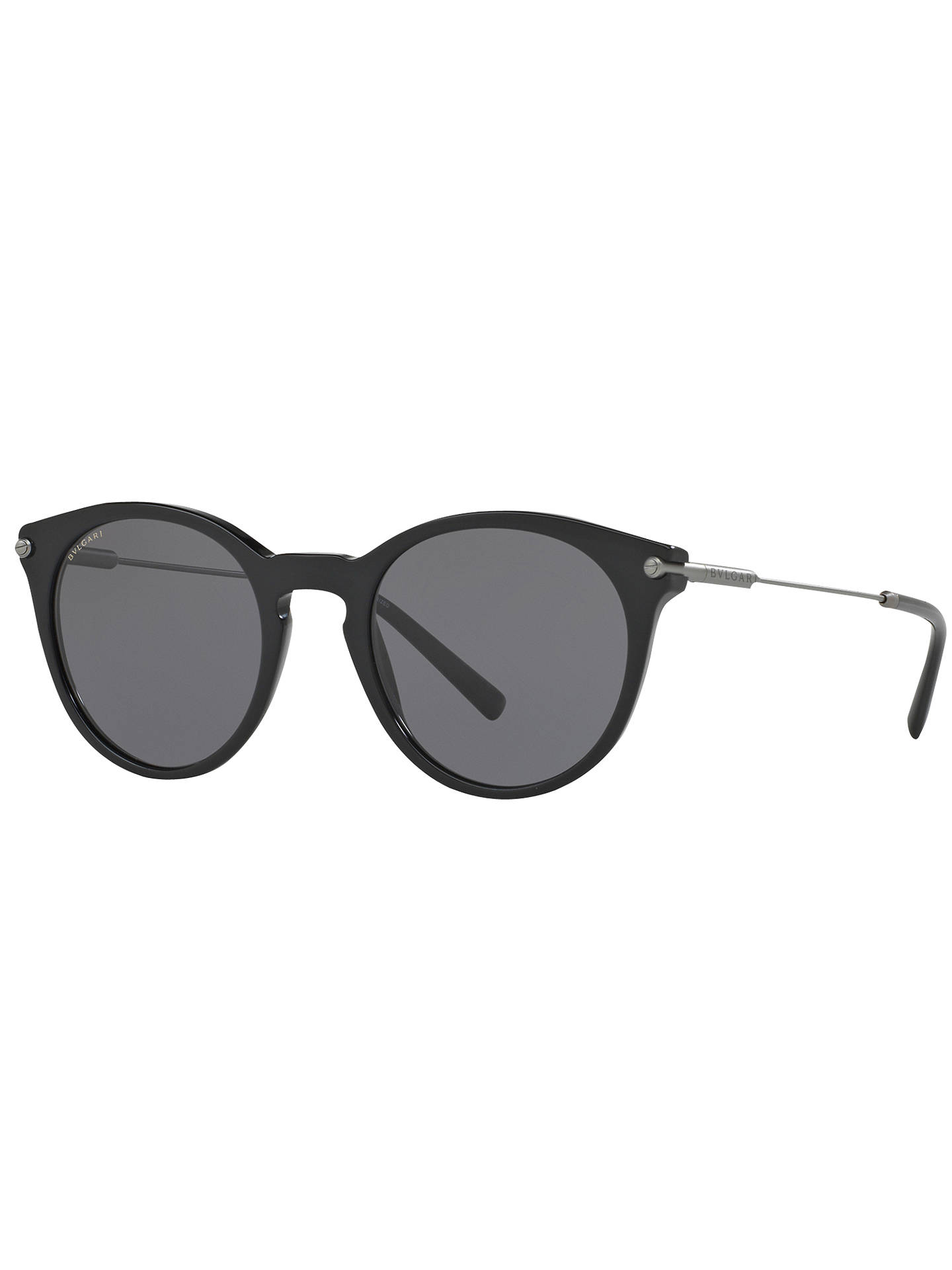 BuyBVLGARI BV7030 Polarised Oval Sunglasses, Black/Grey Online at johnlewis.com