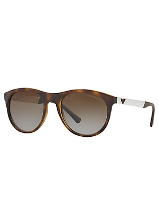 Emporio Armani EA4084 Polarised Oval Sunglasses, Tortoise/Brown Gradient